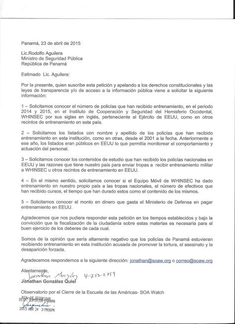 Carta entregada al Ministerio de Seguridad en la República de Panamá