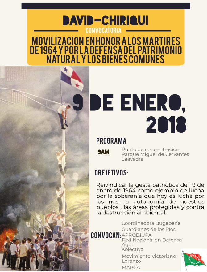 MOVILIZACIÓN  EN HONOR A LOS MÁRTIRES DE 1964 Y POR LA DEFENSA DEL PATRIMONIO NATURAL Y LOS BIENES COMUNES